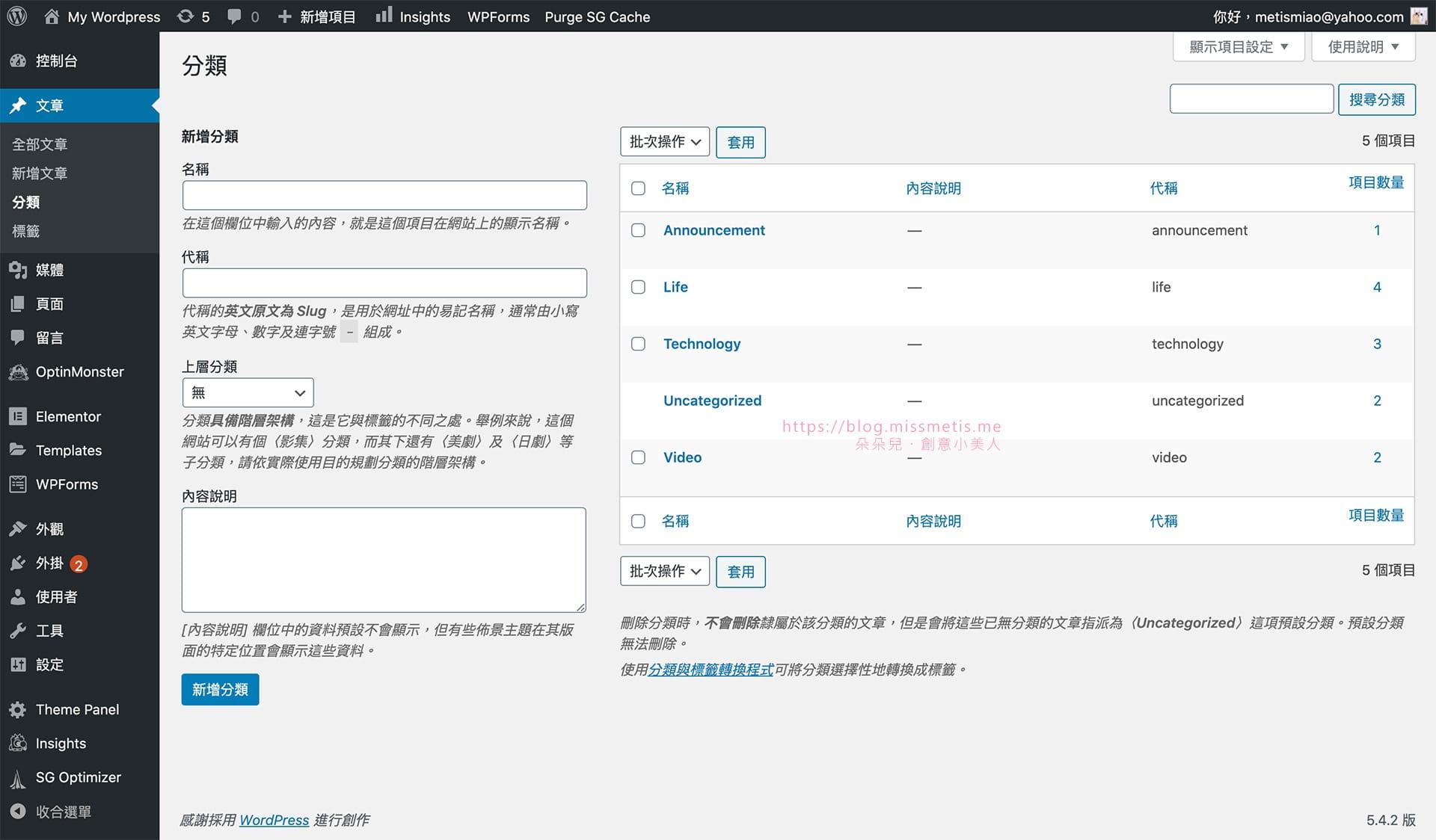 wordpress分類category